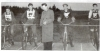 1955(May 4th) Official Opening of the Blaxhall Track. L/R: Ron Latter-Ray Earrey(both Kesgrave Panthers)-John Laurie(Ipswich Speedway Rider)-Dennis Coe-George Brown(both Blaxhall).