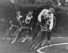 1956 Kestrals v Hammers. Pete Rollason(Hammers) leads Kestral Pair with Hammers rider at the rear.