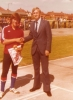 1977 Dick Smith receives his 4th place trophy in the British Under 18 Individual at Bristol from Mel Perkins.