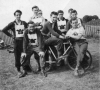 1954 Vampires Team. Standing L/R : Des Blowers-Jo Chamberlain-Fred Friend(man)-Maurice Page-John Benfield-John Gorham. Front: Don Corcoran-Ron Bagley(on bike)-Terry Abbott.