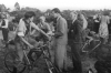 1947/48 The Lions in the Pits at East Boldre(New Forest). L/R: K. King(on bike)-Mr Barnes(man)-Charles Ley(asst man). R. Ley in background.
