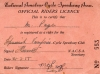 Official 1950s Racing Licence.