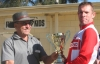 Steve Harris is presented with the World Champions Trophy in Australia.